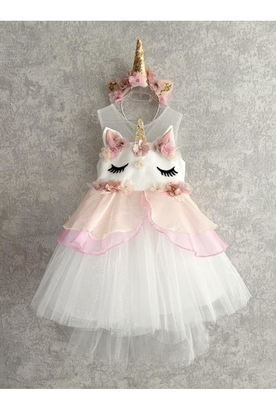 Turuncugardrop Taç Detay Kuyruklu Unicorn Elbise