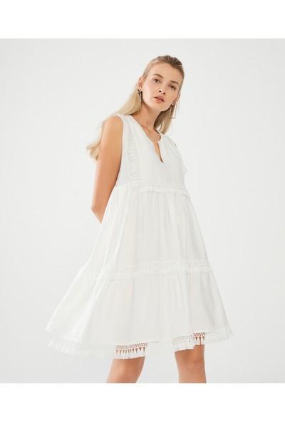 Decosa Paris Bohem Elbise Beyaz