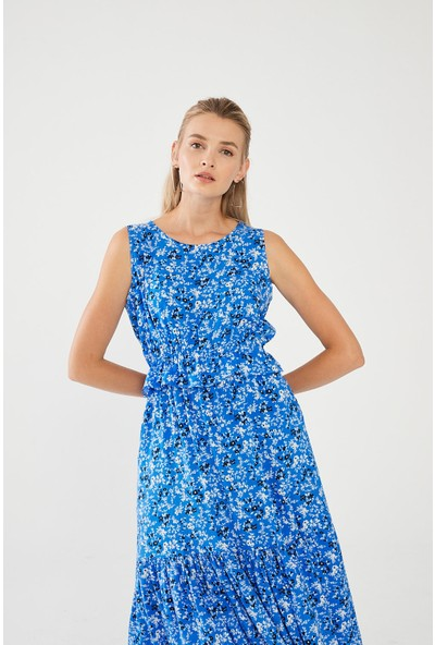 Decosa Paris Floral Desenli Elbise Mavi