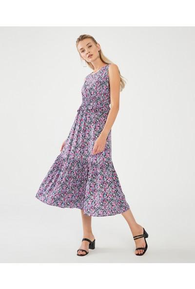 Decosa Paris Floral Desenli Elbise Lila