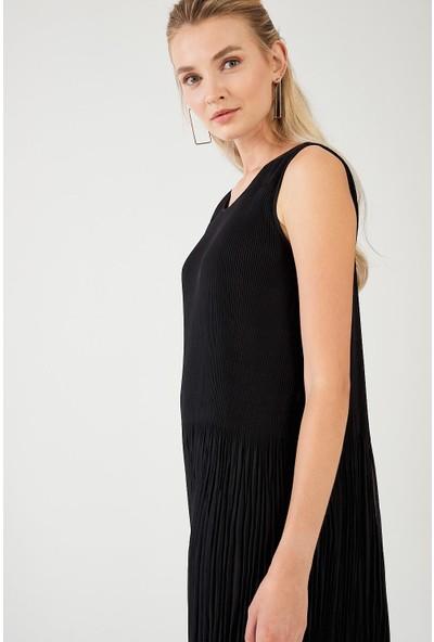 Decosa Paris Pilise Detaylı Elbise Siyah
