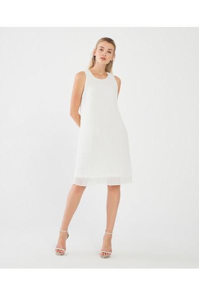 Decosa Paris Pilise Detaylı Elbise Beyaz