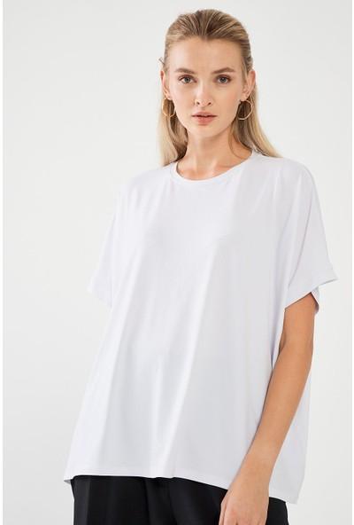 Decosa Paris Oversize Kadın Bluz Beyaz