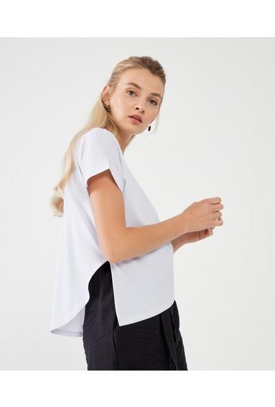 Decosa Paris Asimetrik Kadın Bluz Beyaz