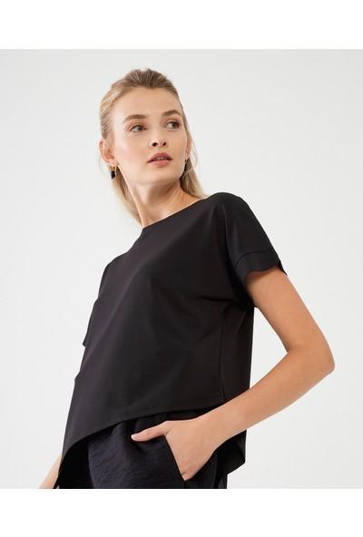 Decosa Paris Asimetrik Kadın Bluz Siyah