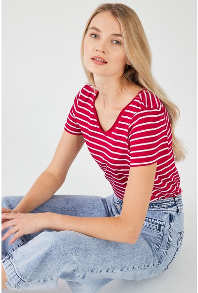 Decosa Paris Basic Kadın T-Shirt Kırmızı Çizgili