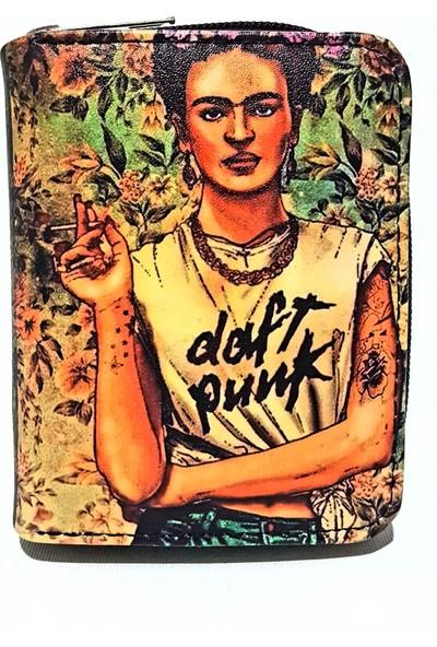 Gommeda Frida Kahlo Daft Punk Baskılı Cüzdan Kartlık Gündelik Kullanım