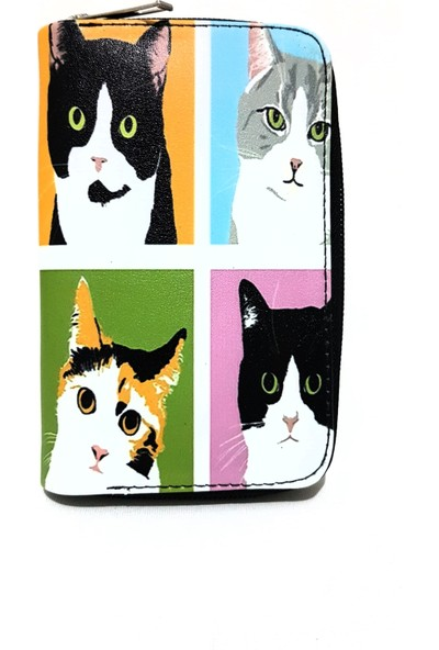 Gommeda Kedi Baskılı Cüzdan Kartlık Gündelik Kullanım