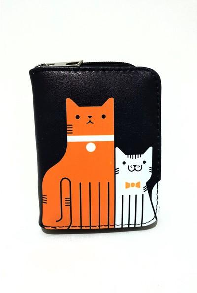 Gommeda Kedi Desen Baskılı Cüzdan Kartlık Gündelik Kullanım