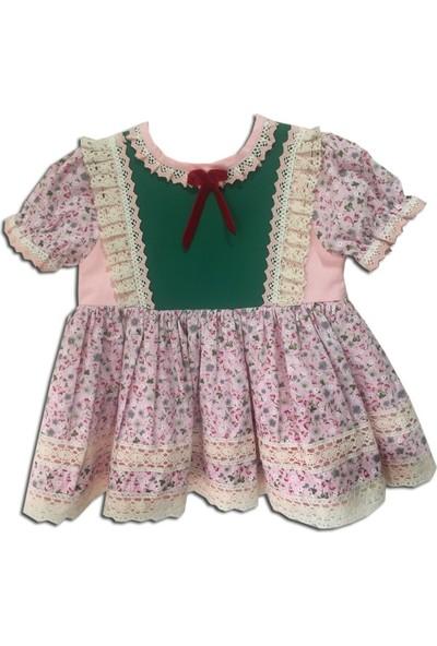 Bertuğ Bebek Dantel Detaylı Çiçekli Elbise