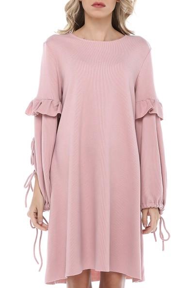 Turuncugardrop Pudra Kol Bağcık Detay Elbise