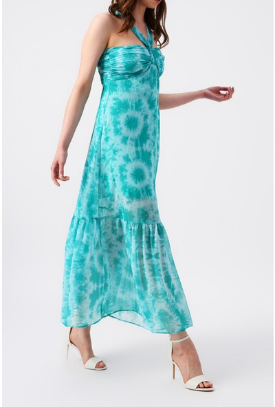 Random Kadın Yaka Detaylı Desenli Elbise