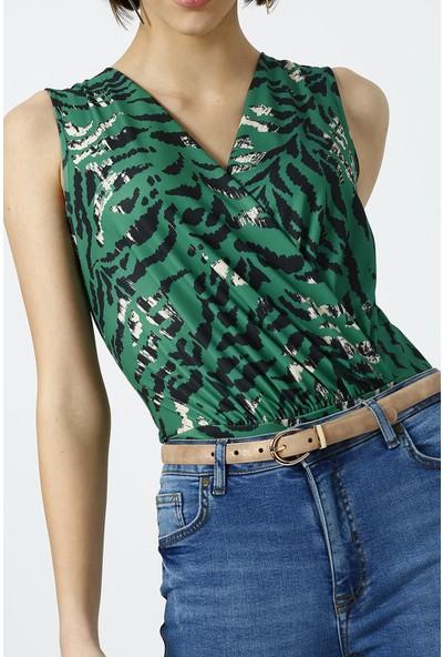 Random Kadın Yeşil Zebra Desenli Kruvaze Body