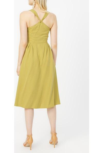Random Kadın Düğme Detaylı Midi Elbise