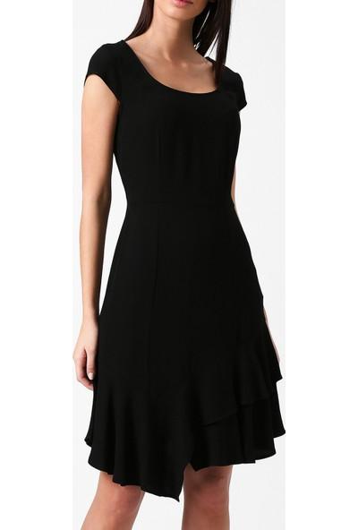 Random Kadın Eteği Asimetrik Küt Yakalı Mini Elbise