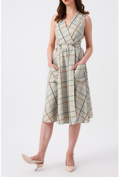 Random Kadın Ekose Desenli Çift Cepli Kruvaze Midi Elbise