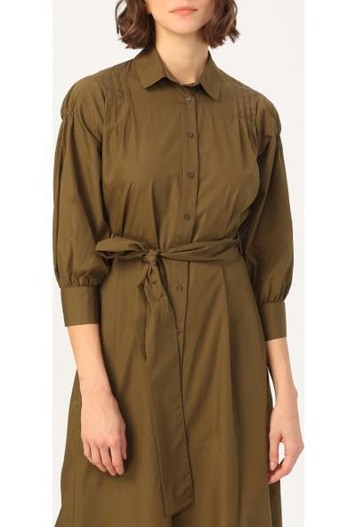 Random Kadın Kol Detaylı Belden Bağlamalı Gömlek Elbise