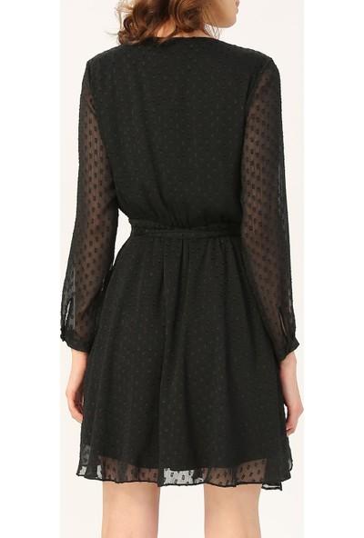 Random Kadın Asimetrik Kesim Belden Bağlamalı Elbise