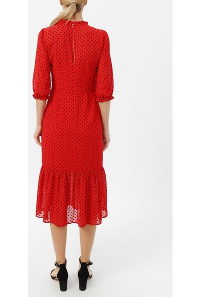 Random Kadın Volan Detaylı Puantiyeli Elbise