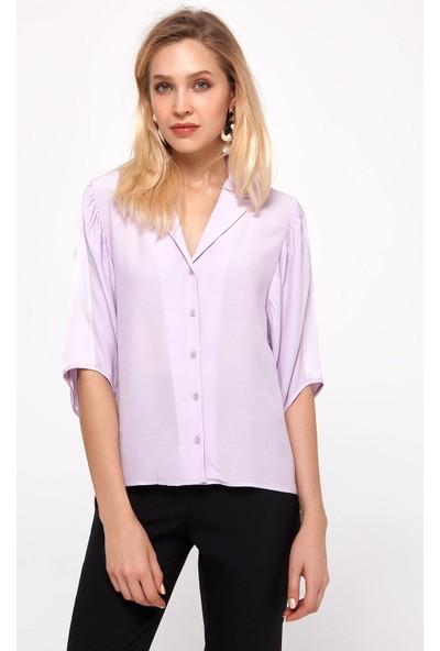 Random Kadın Lila Oval Kol Detaylı Gömlek