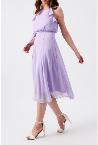 Random Kadın Omuzları Fırfırlı Ince Askılı Midi Elbise