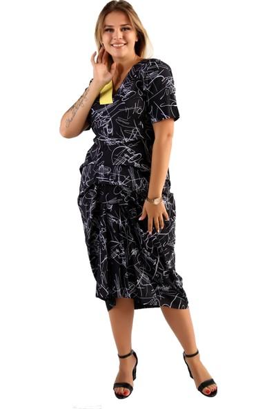 Endorfin Büyük Beden Kat Kat Elbise Sarı 4XL