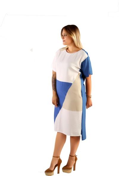 Endorfin Büyük Beden Patch Elbise Mavi 4XL