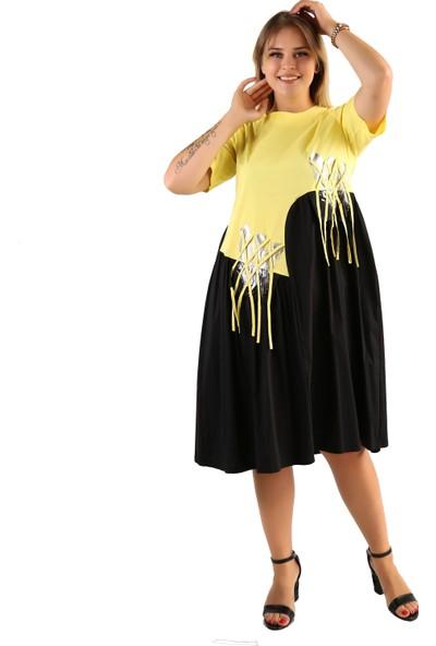 Endorfin Büyük Beden Lale Baskılı Elbise Sarı 4XL