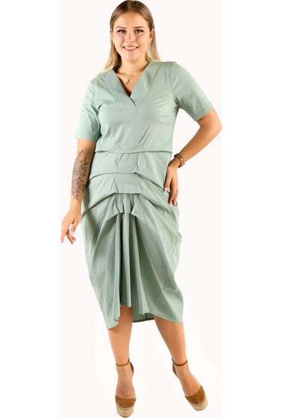 Endorfin Büyük Beden Kat Kat Elbise Yeşil XL