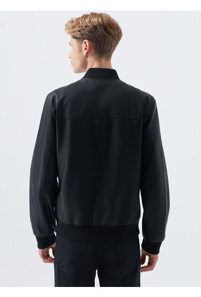 Mavi Erkek Suni Deri Siyah Biker Ceket 010330-900