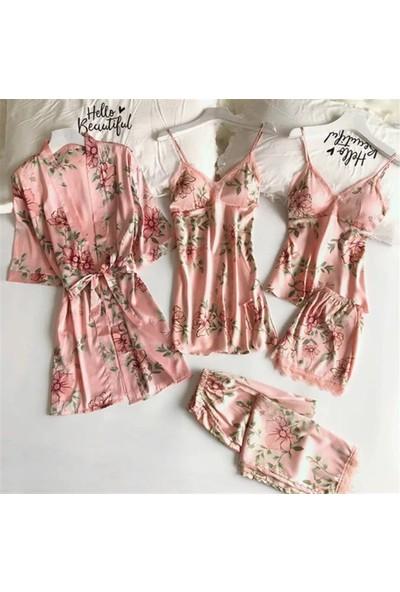 Pembishomewear Özel Tasarım 6'lı Somon Çiçekli Saten Pijama Seti 3XL