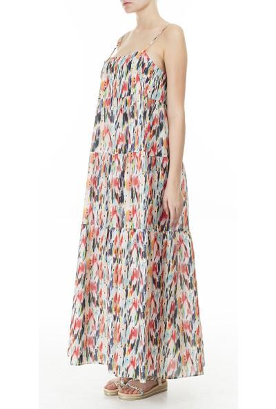 Emporio Armani Desenli Askılı Maxi Elbise