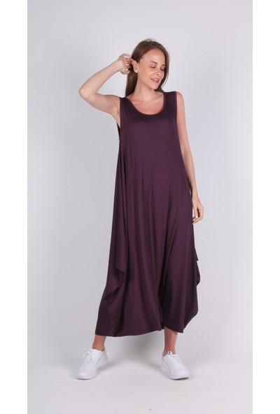 Meliana Mor Askılı Uzun Elbise