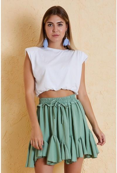 4 Sisters Fashion Mint Yeşili Beli Lastikli Volanlı Etek
