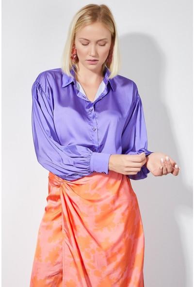 4 Sisters Fashion Mor Viscon Uzun Kollu Gömlek