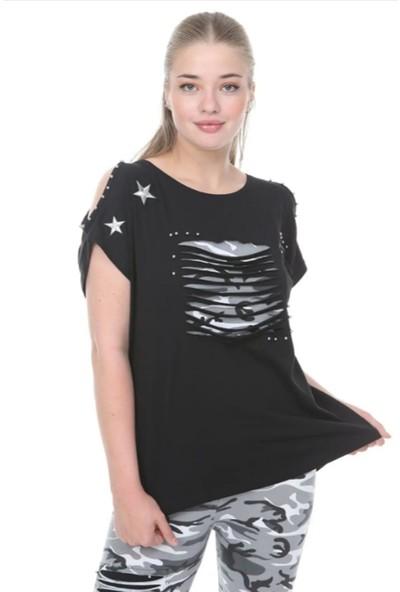 Mia Kamuflaj Baskılı Tayt Arma Detaylı Bluz Büyük Beden Takım 46 Siyah