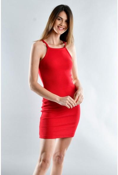 Cotton Mood 20071620 Kaşkorse Ip Askılı Elbise Kırmızı S