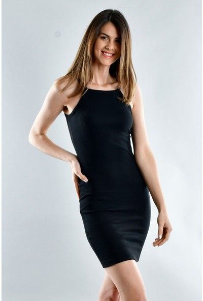 Cotton Mood 20071620 Kaşkorse Ip Askılı Elbise Siyah L