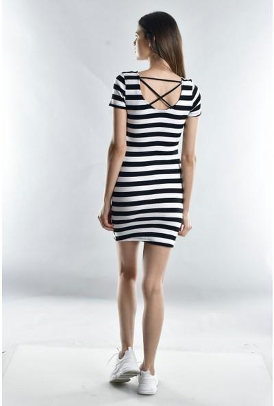 Cotton Mood 20071669 Kaşkorse Arkası Çapraz Biyeli Kısa Kol Elbise Siyah Beyaz Kalın Çızgılı L