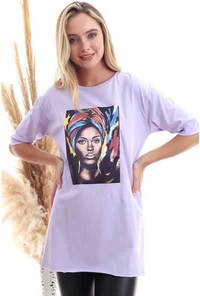 Cotton Mood 20071920 Süprem Kız Baskılı Taşlı T-Shirt Lila S