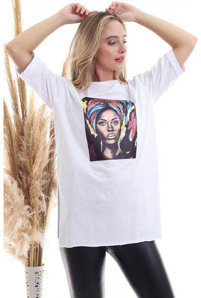 Cotton Mood 20071920 Süprem Kız Baskılı Taşlı T-Shirt Beyaz L