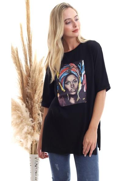 Cotton Mood 20071920 Süprem Kız Baskılı Taşlı T-Shirt Siyah L