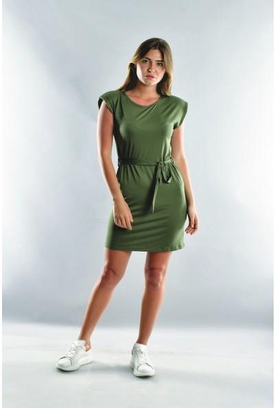 Cotton Mood 20071993 Viskon Vatkalı Kısa Elbise Haki S
