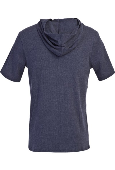 Kiğılı Kapüşonlu Kısa Kol Slim Fit Sweatshirt
