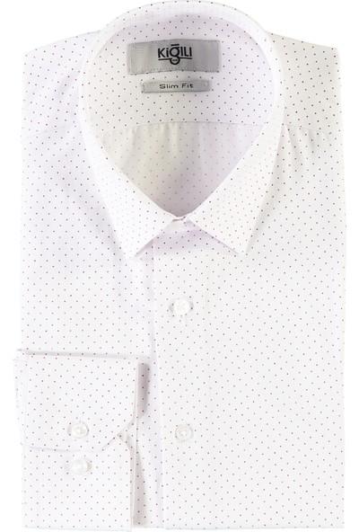 Kiğılı Uzun Kol Baskılı Slim Fit Gömlek