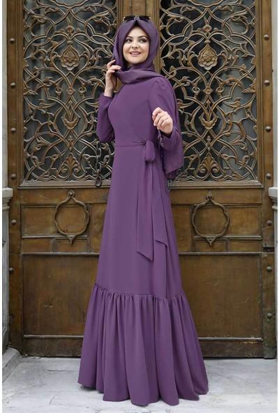 Pınar Şems Eteği Fırfırlı Elbise Lila