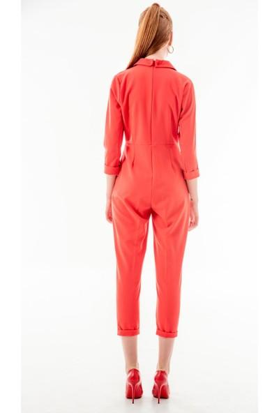 Echerchi Kırmızı Krep Kumaş Ceket Detaylı Tulum