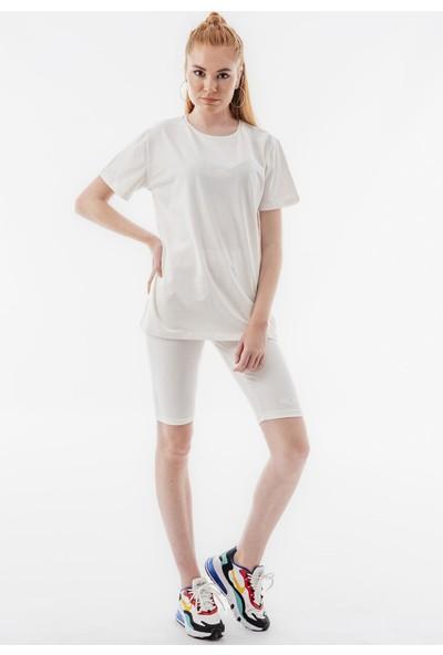 Echerchi Ekru Yazı İşlemeli T-Shirt Tayt Kadın Takım