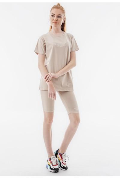 Echerchi Taş Rengi Yazı İşlemeli T-Shirt Tayt Kadın Takım