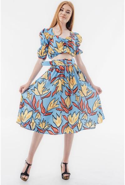 Echerchi Mavi Etek Bluz Çiçek Desenli Kemer Detaylı Kadın Takım